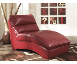 CHAISE-STATIONARY LEATHER-DURABLEND - SCARLETT