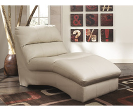 CHAISE-STATIONARY LEATHER-DURABLEND - IVORY