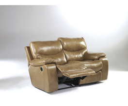 RECLINING LOVESEAT-MOTION LEATHER-ZACKARY - BRINDLE