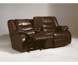 D GLIDER REC LOVESEAT-MOTION LEATHER-REVOLUTION - SADDLE
