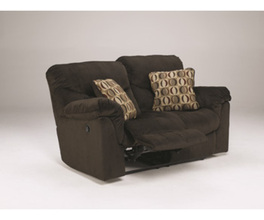 RECLINING POWER LOVESEAT-MOTION UPHOLSTERY-MOTIVATION - CHOCOLATE