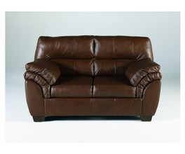 LOVESEAT-STATIONARY LEATHER-WARREN - BROWN