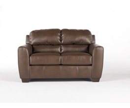 LOVESEAT-STATIONARY LEATHER-DURABLEND - BARK
