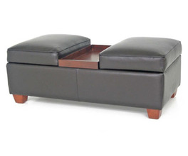 LEATHER LIFT-TOP STORAGE OTTOMAN