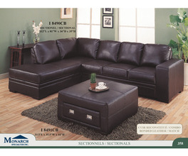 CHOCOLATE BROWN BONDED LEATHER / MATCH SECTIONAL SOFA   PG358