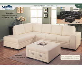 IVORY BONDED LEATHER / MATCH STORAGE OTTOMAN   PG357