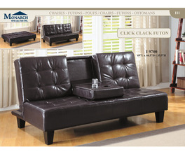DARK BROWN LEATHER-LOOK CLICK CLACK FUTON   PG111