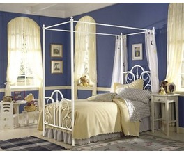 CONTOUR CANOPY BED MATTE WHITE TWIN