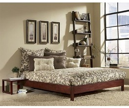 MURRAY PLATFORM BED MAHOGANY FINISH TWIN BED COMPLETE W/ SIDE RAILS