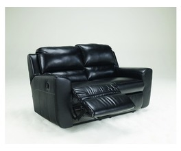 RECLINING LOVESEAT-MOTION LEATHER-LEDGER DURABLEND - BLACK