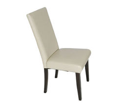 SOPHIE IVORY LEATHER PARSON CHAIR