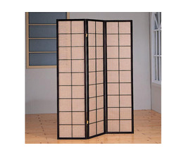 FOLDING SCREEN - 3 PANEL / CAPPUCCINO WITH FABRIC INLAY
