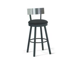 LAUREN SWIVEL STOOL  (UPHOLSTERED SEAT AND   STAINLESS STEEL BACKREST)