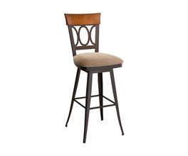 CINDY SWIVEL STOOL  (SOLID WOOD ACCENT)