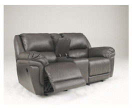RECLINING LOVESEAT W/CONSOLE-MOTION LEATHER-MAGICIAN DURABLEND - SLATE
