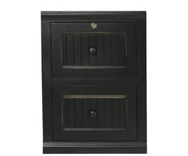 2-DRAWER FILE CABINET, TOP DRAWER LOCKS, BEAD BOARD DETAILING, PLAIN BASE*GLASS*NG*FINSISH*BK, SW, WH