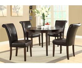 DINING CHAIR - 2PCS / 39H / DARK BROWN LEATHER-LOOK
