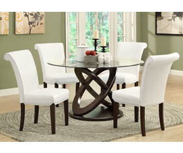 DINING CHAIR - 2PCS / 39H / TAUPE LEATHER-LOOK
