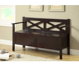 BENCH - 50L / CAPPUCCINO SOLID WOOD WITH STORAGE