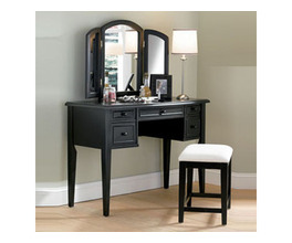 ANTIQUE BLACK VANITY, MIRROR, & BENCH