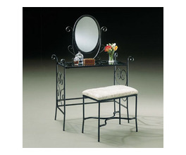 GARDEN DISTRICT MATTE BLACK VANITY, MIRROR & BENCH