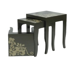 3 NESTING TABLES ANT.GREY/SILVER
