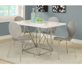 DINING TABLE - 36X 48 / WHITE GLOSSY / CHROME METAL