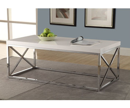 COFFEE TABLE - GLOSSY WHITE WITH CHROME METAL