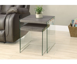NESTING TABLE - 2PCS SET / DARK TAUPE / TEMPERED GLASS