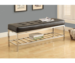 BENCH - 48L / BLACK LEATHER-LOOK / CHROME METAL