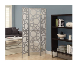 FOLDING SCREEN - 3 PANEL / SILVER  BUBBLE DESIGN