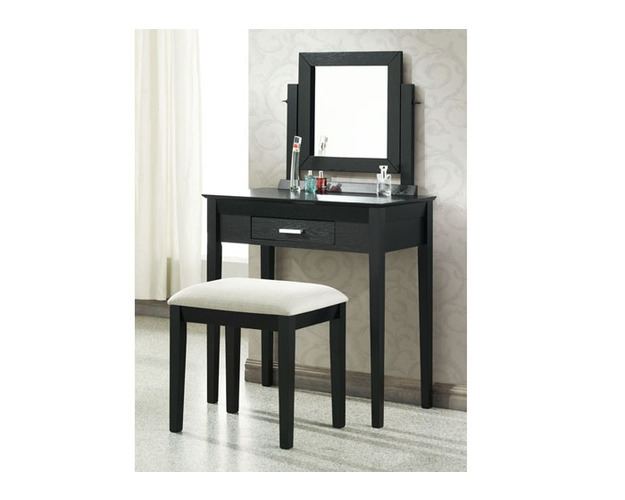 BLACK GRAIN VENEER 2PCS VANITY SET / GREY FABRIC STOOL   PG268