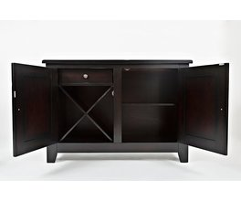 SERVER W/ 2 DOORS, DRAWER, REMOVABLE WINE RACK AND ADJUSTABLE SHELF W/ HAND HEWN CORNERS AND RUGGED SCALE