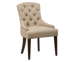 UPHOLSTERED SIDE CHAIR WITH BUTTON TUFTING AND NAILHEAD TRIM