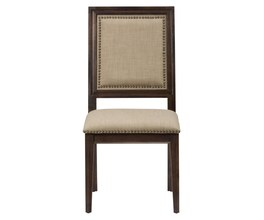 SIDE CHAIR WITH UPHOLSTERED BACK AND SEAT WITH NAILHEAD TRIM (2/CTN)