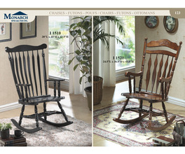ROCKING CHAIR - 44H / BLACK OAK TRADITIONAL STYLE