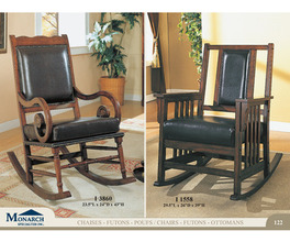 DARK OAK ROCKER WITH LEATHER SEAT AND BACK   PG122