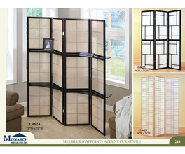 NATURAL WOOD FRAMED 3 PANEL SCREEN   PG248
