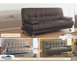 BROWN LEATHER LOOK CLICK CLACK FUTON   PG110