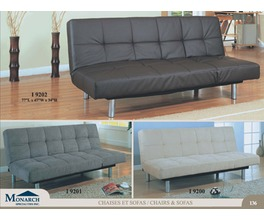 BROWN LEATHER LOOK CLICK CLACK 2 SIDE FUTON
