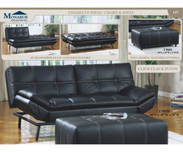 BLACK LEATHER-LOOK / BASEBALL STITCH CLICK CLACK FUTON