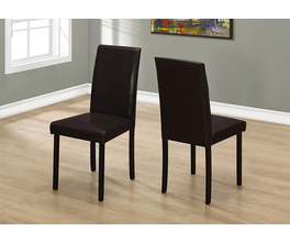 DINING CHAIR - 2PCS / 36H DARK BROWN LEATHER-LOOK