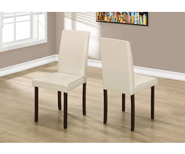 DINING CHAIR - 2PCS / 36H IVORY LEATHER-LOOK
