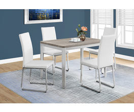 DINING TABLE - 32X 48 / DARK TAUPE / CHROME METAL