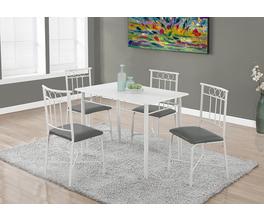 DINING SET - 5PCS SET / WHITE METAL AND TOP