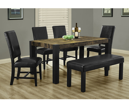 DINING TABLE - 38X 64 / BLACK / DISTRESSED-LOOK TOP
