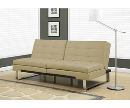 FUTON - SPLIT BACK CLICK CLACK / TAUPE LEATHER-LOOK