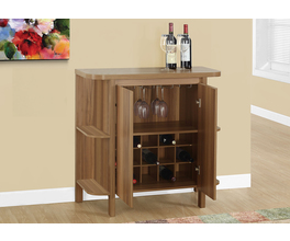 HOME BAR - 36H / WALNUT WITH BOTTLE AND GLASS STORAGE