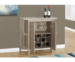 HOME BAR - 36H /DARK TAUPE WITH BOTTLE AND GLASS STORAGE