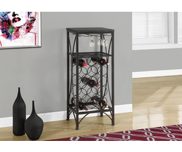 HOME BAR - 40H / BLACK METAL WINE BOTTLE AND GLASS RACK